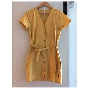 RVCA yellow button down dress with belt